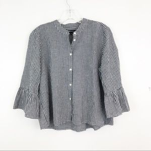 Madewell Gingham Bell Sleeve Top